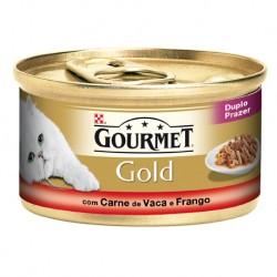 GOURMET GOLD DUPLO PRAZER COM CARNE DE VACA E FRANGO